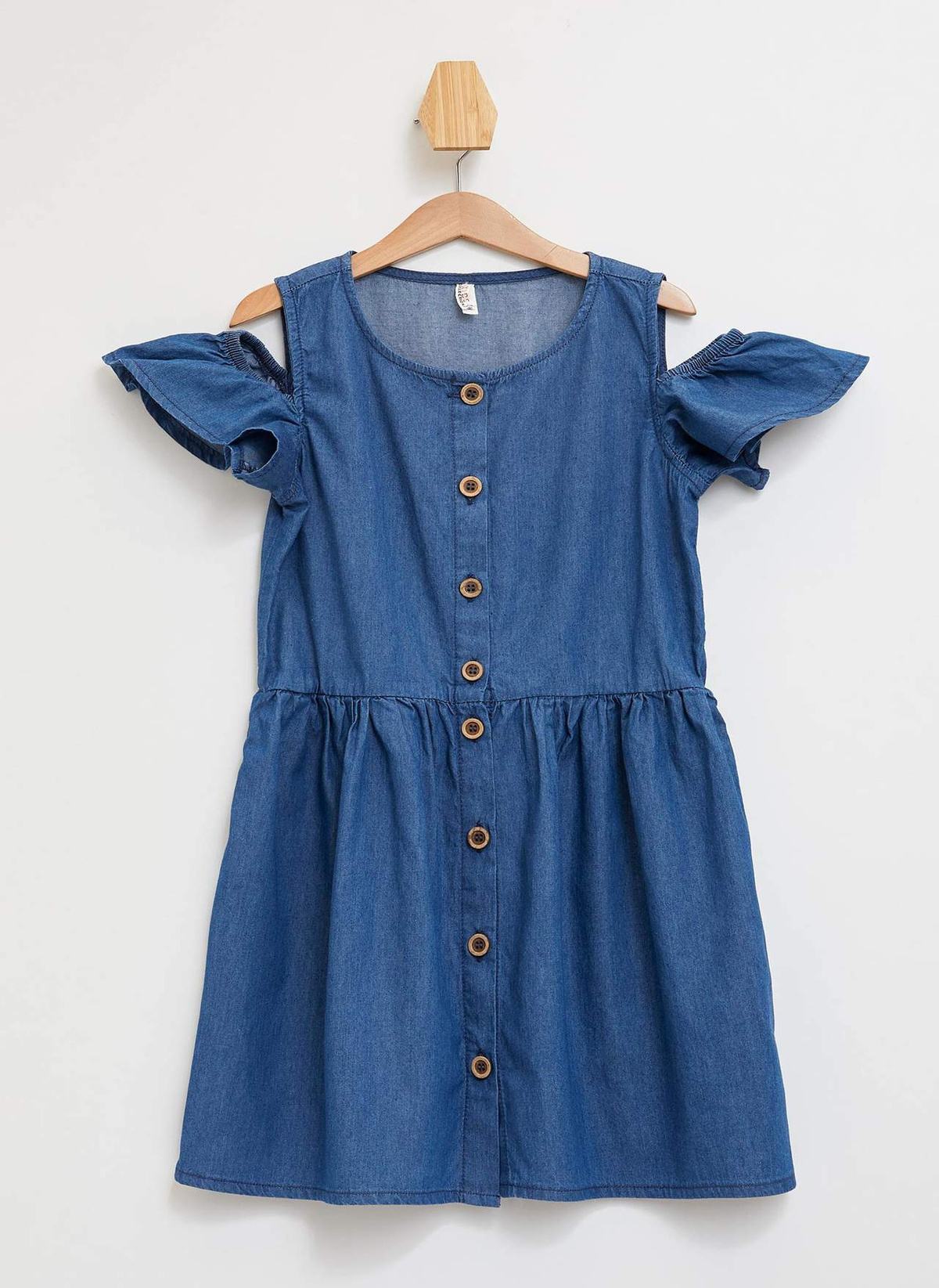 Kız Çocuk DeFacto Önü Düğmeli Omuz Detaylı Jean Elbise